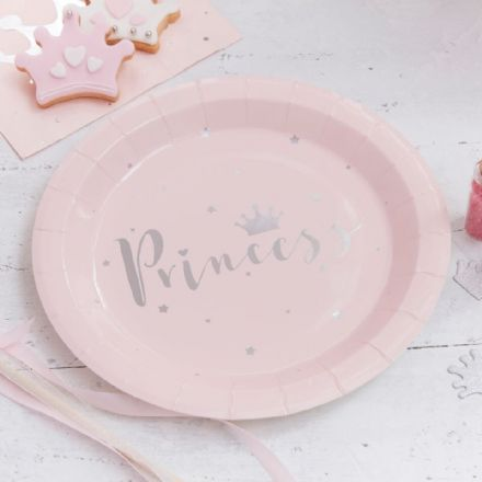 Princess Perfection Pink & Silver Party Plates - pack of 8